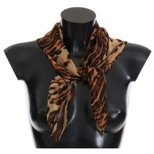Dolce&Gabbana D2144 Brown Tiger Square Silk Scarf